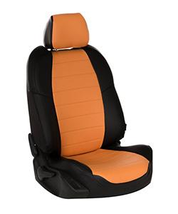 Черно-оранжевый чехол из экокожи